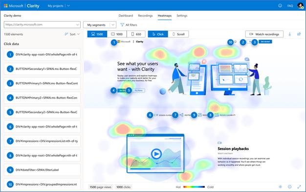 Microsoft Clarity is ontwikkeld om websitebeheerders te helpen hun website te verbeteren door het gedrag van sitebezoekers beter te begrijpen.
